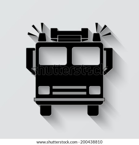 fire engine icon - vector illustration with shadow on light background - stock vector