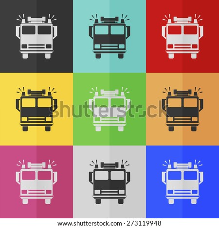 Fire engine vector icon - colored set. Flat design - stock vector