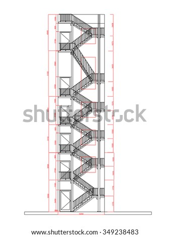 Fire Escape Stair Building Vector Illustration Real Work