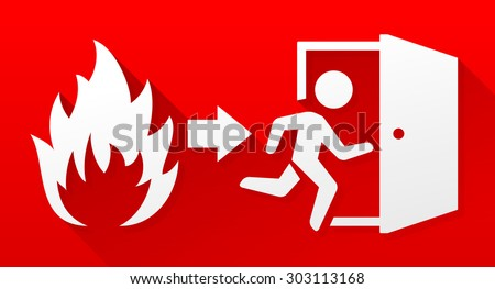 Fire evacuation sign - stock vector