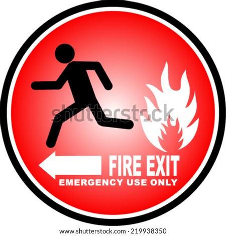 Fire Exit, sticker - stock vector