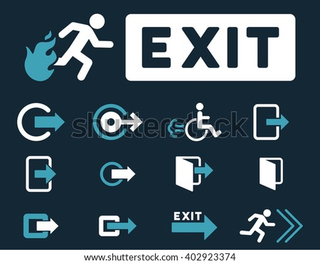 Fire Exit vector icon set. Style is bicolor blue and white flat symbols isolated on a dark blue background.