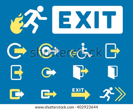 Fire Exit vector icon set. Style is bicolor yellow and white flat symbols isolated on a blue background.