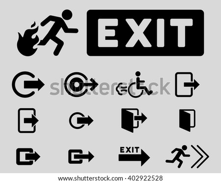 Fire Exit vector icon set. Style is black flat symbols isolated on a light gray background. - stock vector