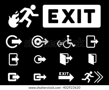 Fire Exit vector icon set. Style is white flat symbols isolated on a black background.