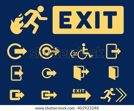 Fire Exit vector icon set. Style is yellow flat symbols isolated on a blue background.