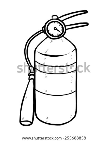 fire extinguisher / cartoon vector and illustration, black and white, hand drawn, sketch style, isolated on white background. - stock vector