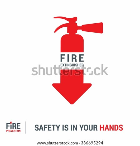 fire extinguisher icon. Safety in your hands typography. Fire Prevention Poster Design - stock vector