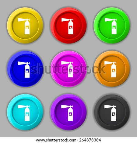 fire extinguisher icon sign. symbol on nine round colourful buttons. Vector illustration - stock vector