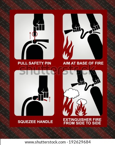 FIRE EXTINGUISHER ILLUSTRATION - stock vector