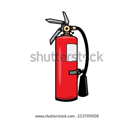 Fire Extinguisher, isolated on white background. Hand drawn. EPS8. - stock vector