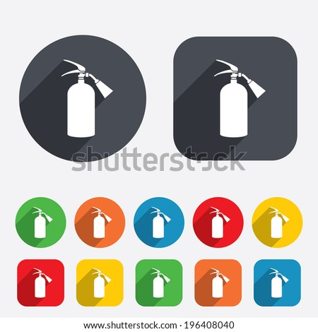 Fire extinguisher sign icon. Fire safety symbol. Circles and rounded squares 12 buttons. Vector - stock vector