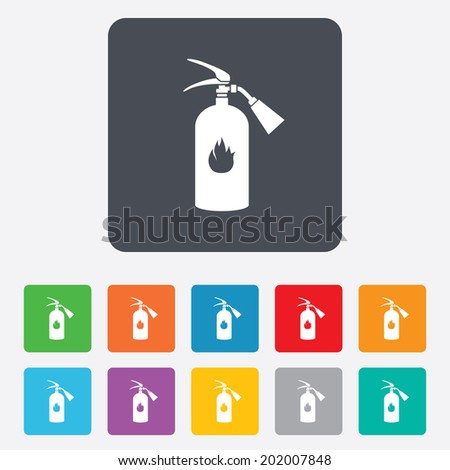 Fire extinguisher sign icon. Fire safety symbol. Rounded squares 11 buttons. Vector - stock vector