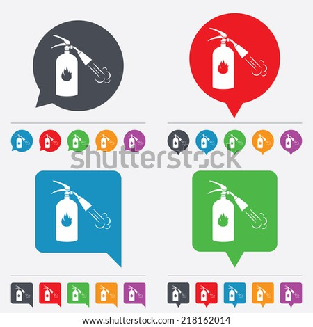 Fire extinguisher sign icon. Fire safety symbol. Speech bubbles information icons. 24 colored buttons. Vector - stock vector