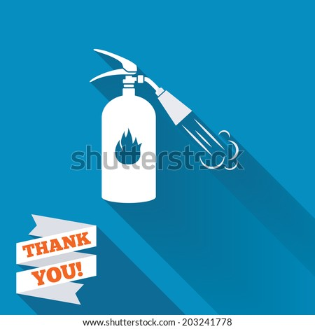 Fire extinguisher sign icon. Fire safety symbol. White flat icon with long shadow. Paper ribbon label with Thank you text. Vector - stock vector
