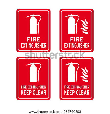 set safety labels fire extinguisher colour stock vector