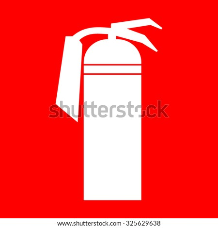 Fire extinguisher sign. White silhouette of a fire extinguisher on a red background. Attention icon in the red square. You can simply change color and size. Stock Vector Illustration - stock vector