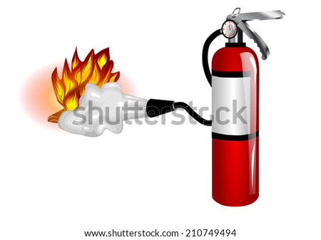 fire extinguisher use - stock vector