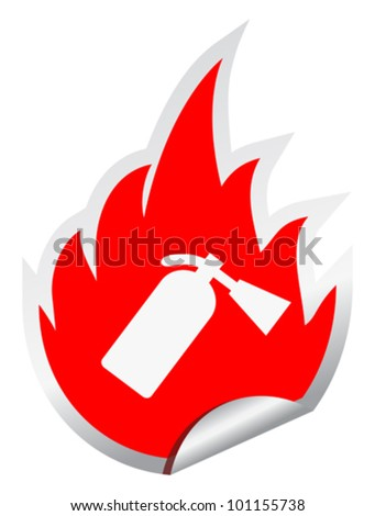 Fire extinguisher vector sign, eps10 illustration - stock vector