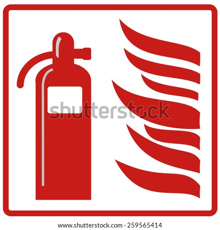 fire extinguisher with flames vector sign - stock vector