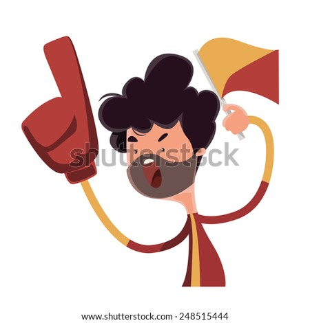 Fire fan cheering for his team vector illustration cartoon character - stock vector