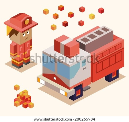 fire fighter rescue. vector illustration - stock vector