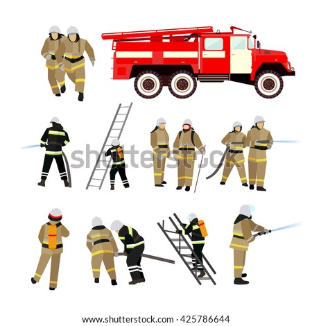 Fire fighting department vector set. Fire station and firefighters. Firefighting truck and people isolated on white background. - stock vector