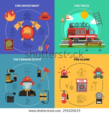 Fire fighting design concept set with fireman truck outfit alarm flat icons isolated vector illustration - stock vector