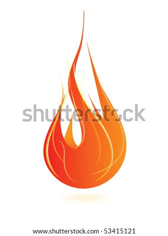 fire flame icon - stock vector