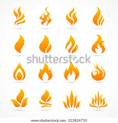 Fire flame icon set in vector format - stock vector