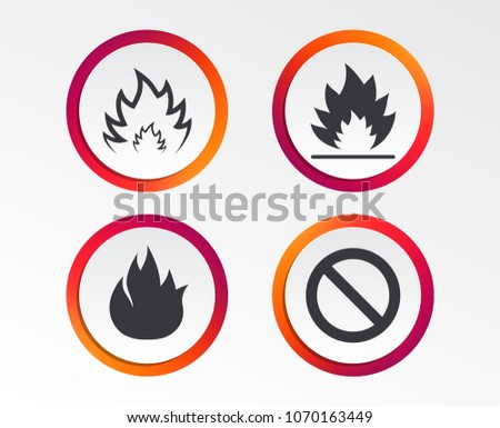 fire flame icons prohibition stop sign stock vector 1070163449