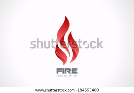 Fire Flame vector logo design template. Tongues of flame creative icon. Sport symbol abstract. - stock vector