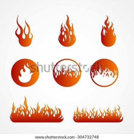 Fire flames, big set icons, vector illustration - stock vector
