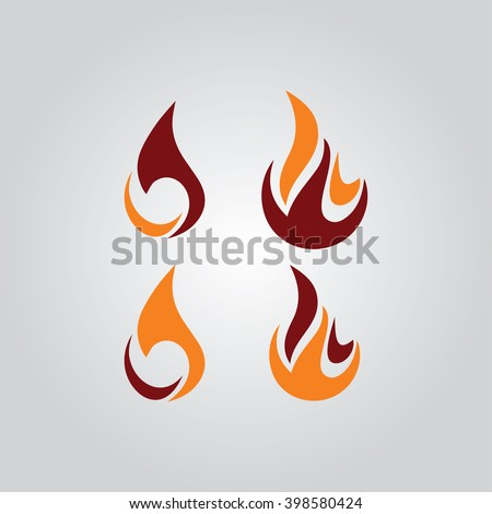 Fire flames icon set vector illustration - stock vector