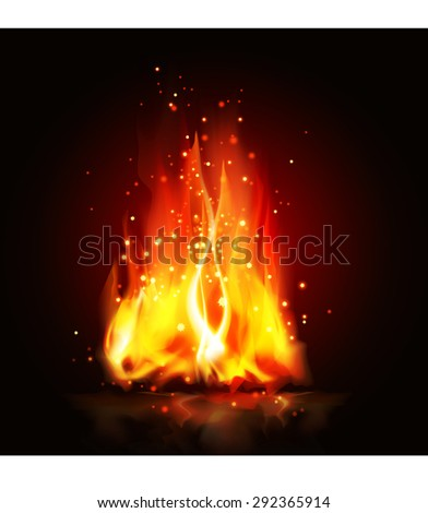 fire flames on black background - stock vector
