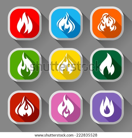 Fire flames, set 9 icons with shadow on a rounded square shape 03 - stock vector