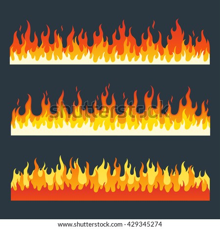 Fire flames vector set in a flat style. Cartoon burning fire flame isolated on a dark background. Different horizontal fire flames. Collection of long strips a flaming fire. - stock vector