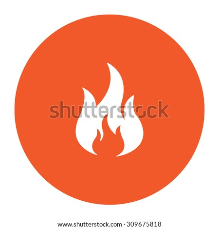 Fire. Flat white symbol in the orange circle. Vector illustration icon - stock vector
