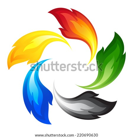 Fire flower with the colors of the five continents - stock vector
