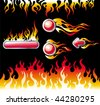 Fire graphic elements and buttons - stock photo