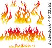 Fire graphic elements on white background - stock vector