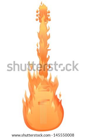 Fire Guitar - stock vector