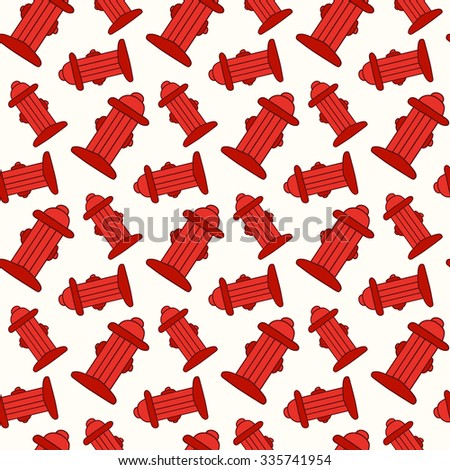 Fire hydrant. Seamless pattern with hand-drawn fire hydrants. Firefighting doodle drawing. Vector illustration - swatch inside - stock vector