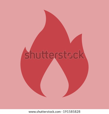 Fire Icon. Fire Icon vector isolated on light red background. EPS 10 vector illustration for design. All in a single layer. Vector illustration. - stock vector