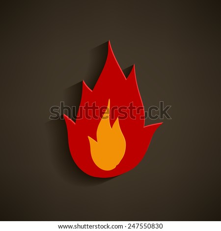 Fire icon - flame icon on grey background. - stock vector