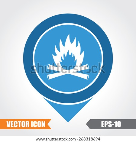 Fire Icon On Map Pointer. Eps.-10. - stock vector