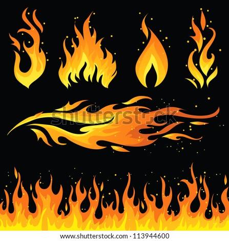 Fire icon set - stock vector