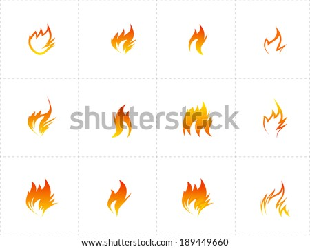 Fire icon set on white background. Vector illustration - stock vector