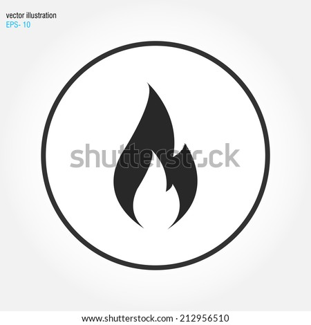 fire icon vector - stock vector
