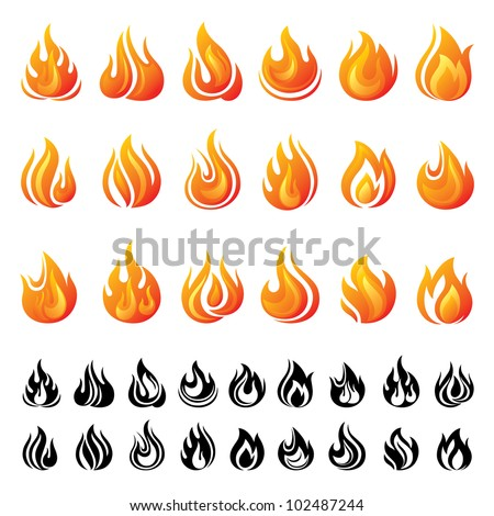 Fire icons set - stock vector
